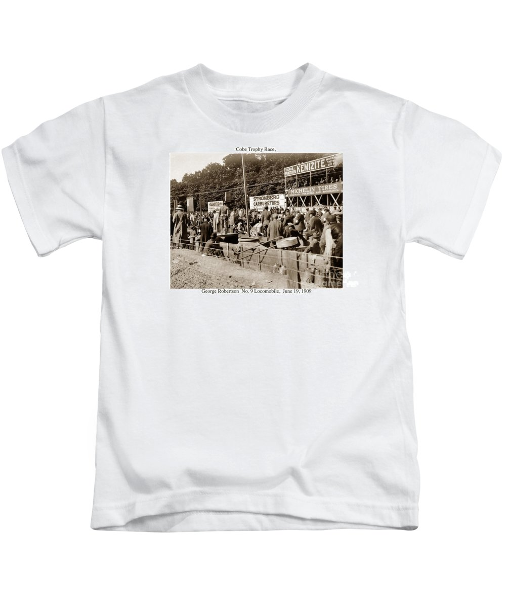 Car Kids T-Shirt featuring the photograph Race Cars Crown Point Indiana June 19 1909 by California Views Archives Mr Pat Hathaway Archives
