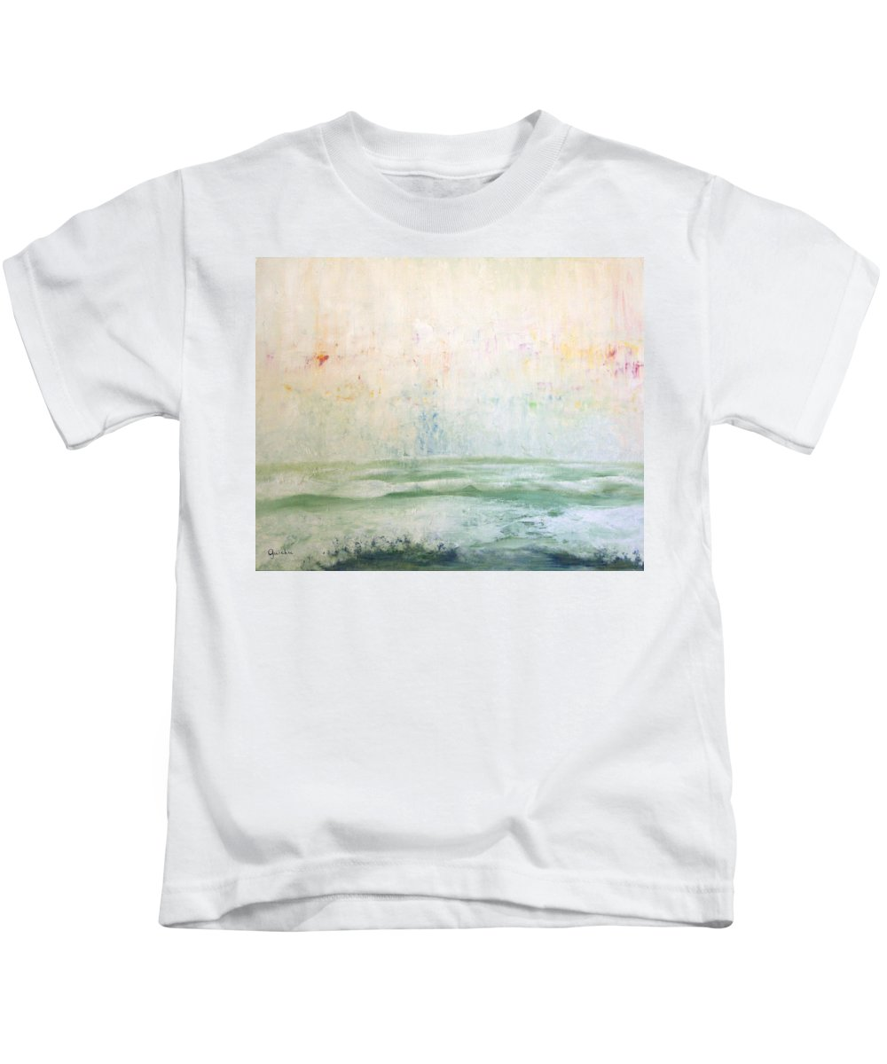 Seascape Kids T-Shirt featuring the painting Rain And Surf by Peggy Guichu