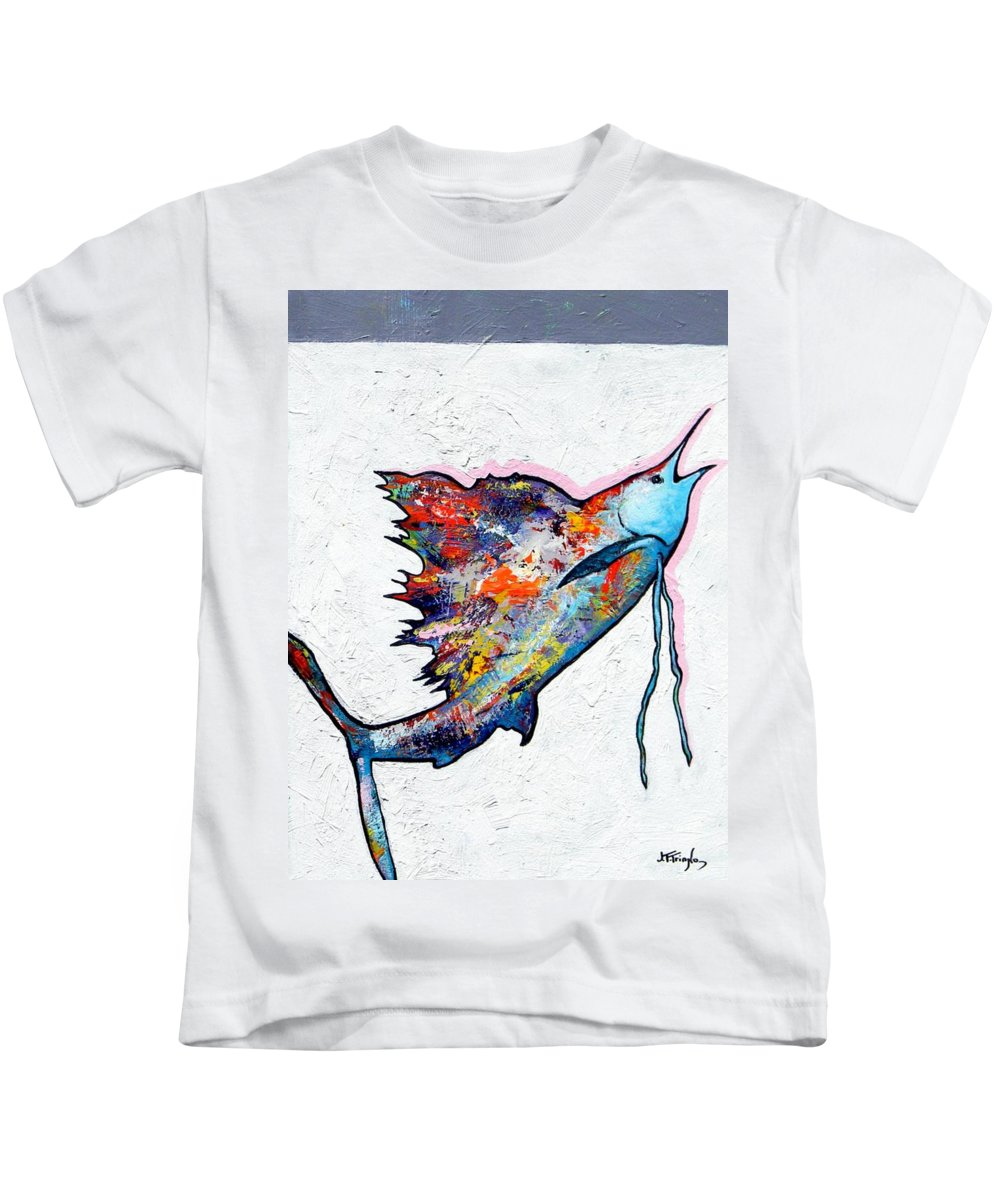 Wildlife Kids T-Shirt featuring the painting Rainbow Warrior - Sailfish by Joe Triano