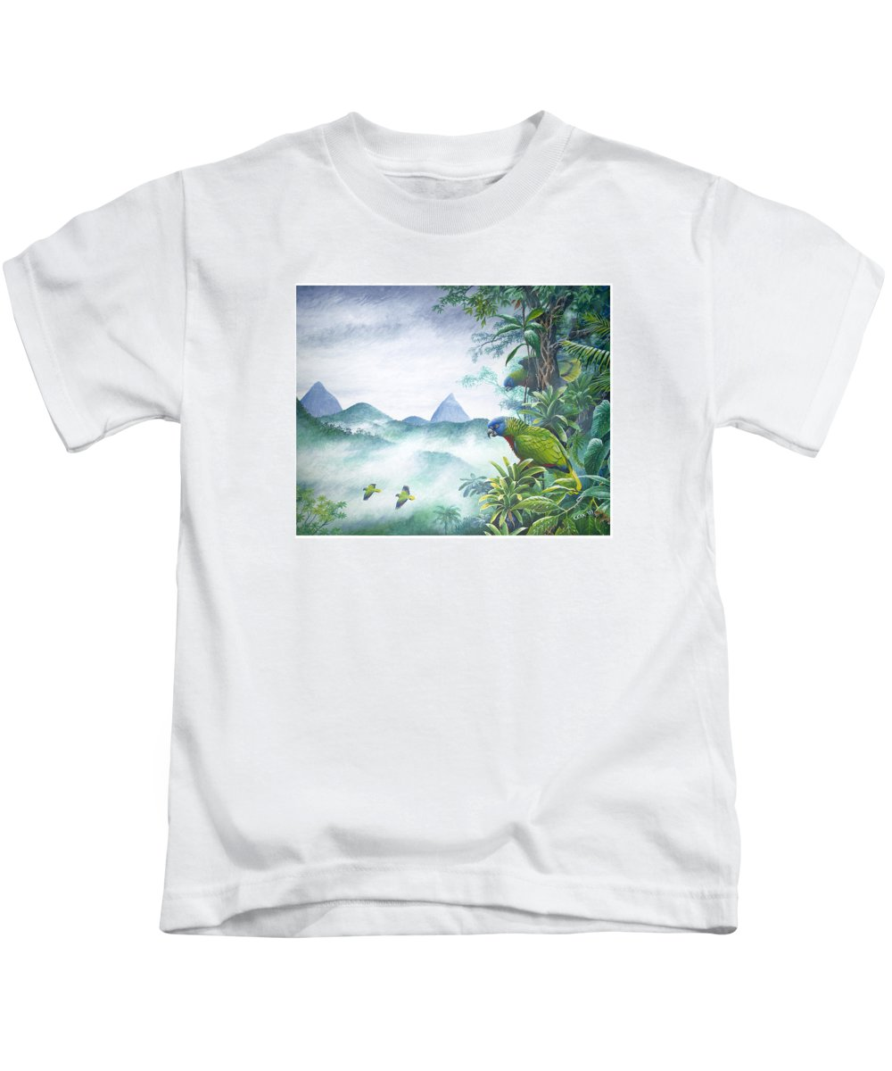 Chris Cox Kids T-Shirt featuring the painting Rainforest Realm - St. Lucia Parrots by Christopher Cox