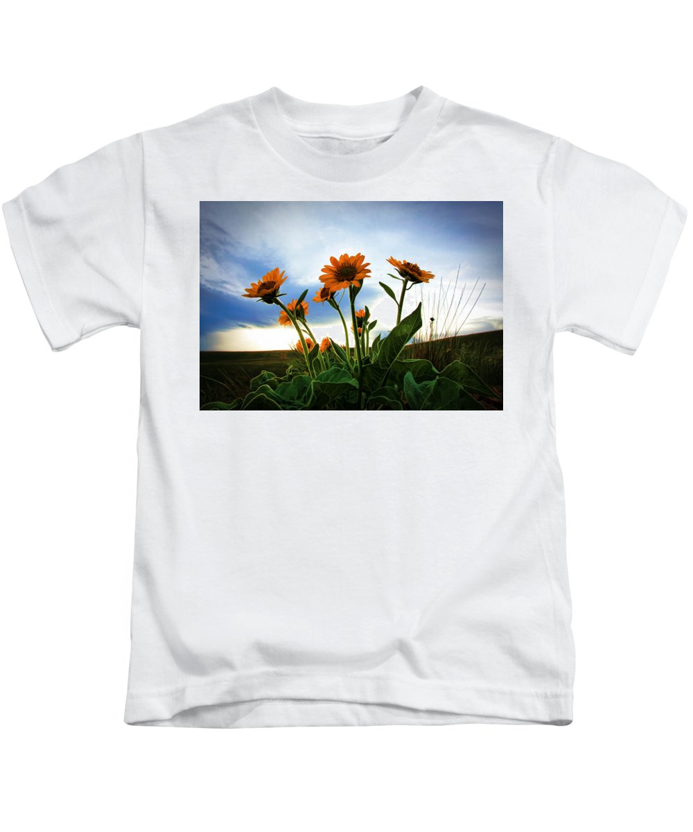 Wild Flowers Kids T-Shirt featuring the photograph Reach To The Heavens by Athena Mckinzie