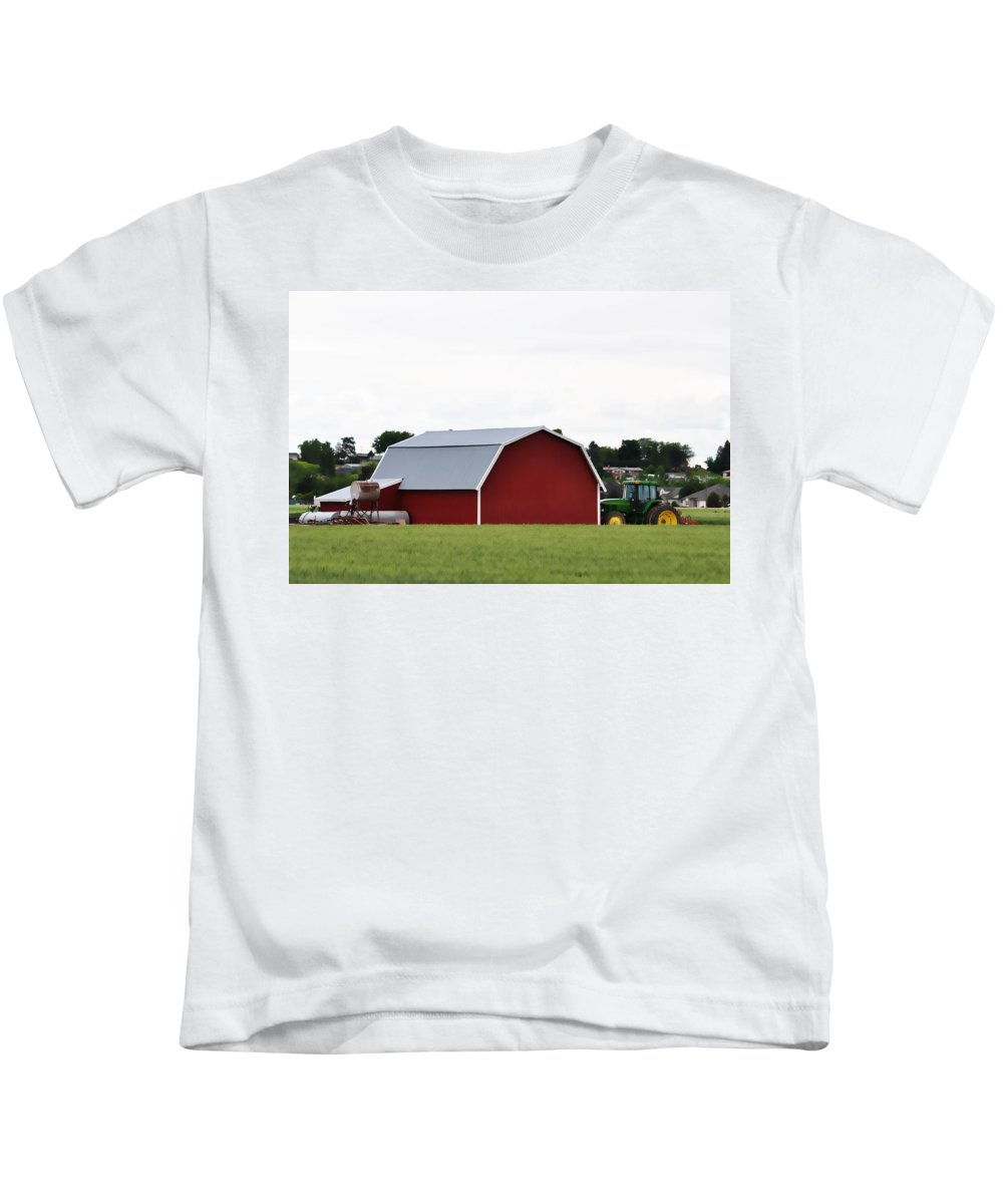 Barn Kids T-Shirt featuring the photograph Red Barn by Image Takers Photography LLC