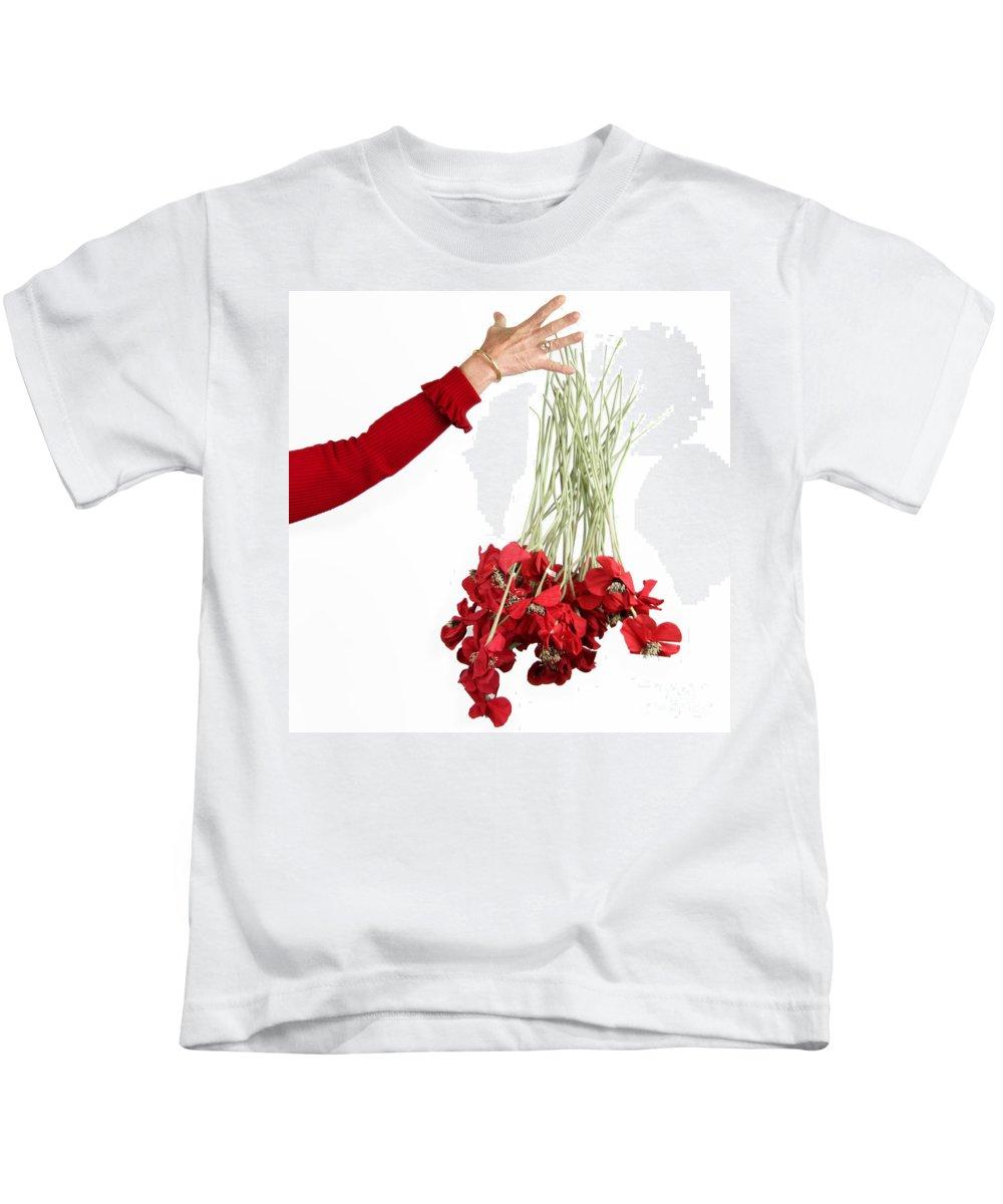 People Kids T-Shirt featuring the photograph Red Bouquet by Bernard Jaubert