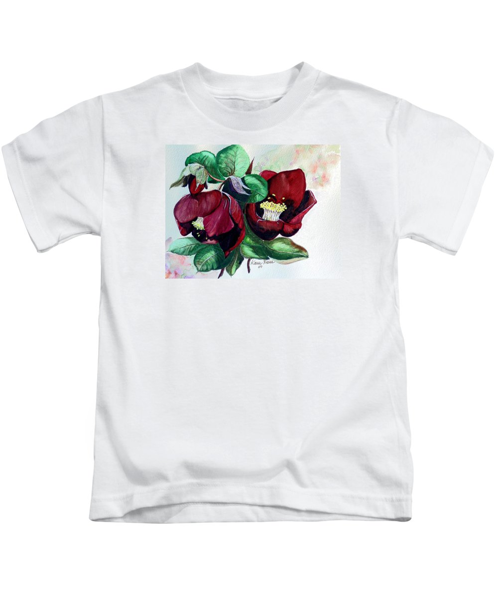 Red Helleborous Painting Flower Painting  Botanical Painting Watercolor Painting Original Painting Floral Painting Flower Painting Red Painting  Greeting Painting Kids T-Shirt featuring the painting Red Helleborous by Karin Dawn Kelshall- Best