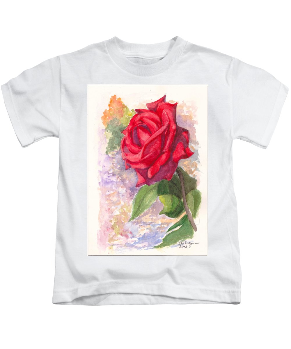 Red Rose Kids T-Shirt featuring the painting Red Valentine Rose by Dai Wynn