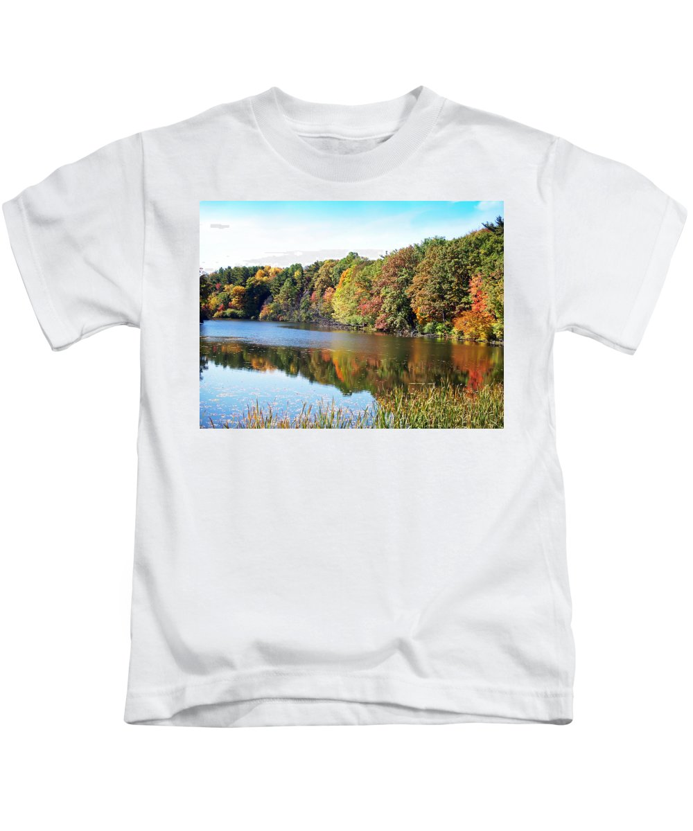 Durhand Eastman Park Kids T-Shirt featuring the photograph Reflecting Trees by Aimee L Maher ALM GALLERY