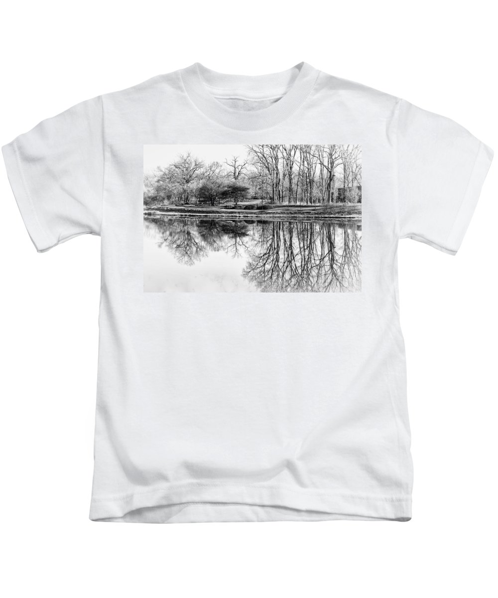 Landscape Kids T-Shirt featuring the photograph Reflection In Black And White by Julie Palencia