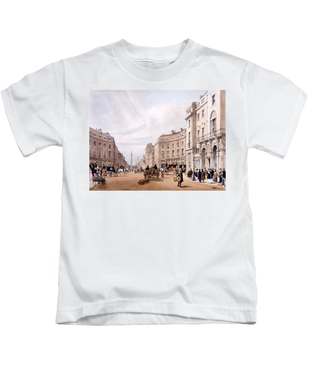 Regent Street Kids T-Shirt featuring the drawing Regent Street, Looking Towards The Duke by Thomas Shotter Boys