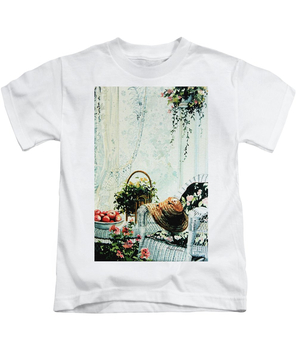 Garden Room Still Life Kids T-Shirt featuring the painting Rest From Garden Chores by Hanne Lore Koehler