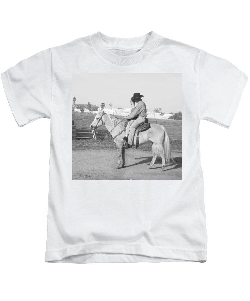 Kids Kids T-Shirt featuring the photograph Riding Lesson by Steve Scheunemann