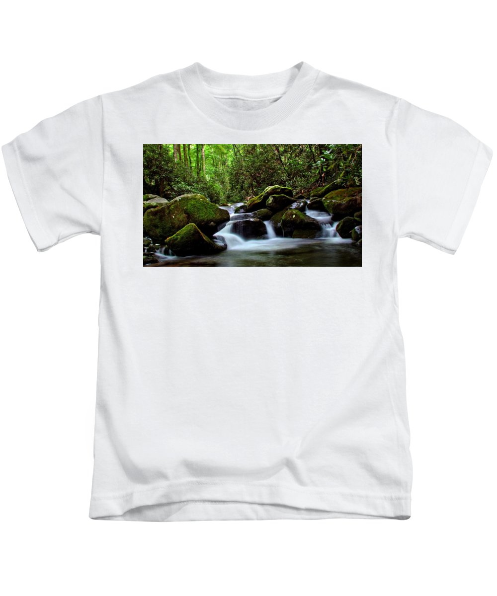 Roaring Fork Motor Trail Kids T-Shirt featuring the photograph Roaring Fork Waters by Carol Montoya