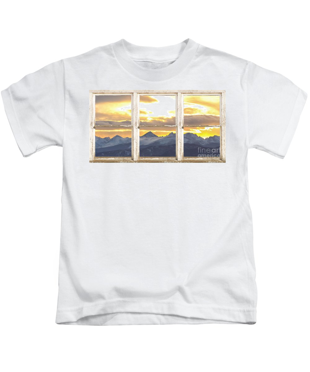 Windows Kids T-Shirt featuring the photograph Rocky Mountain Sunset White Rustic Farm House Window View by James BO Insogna