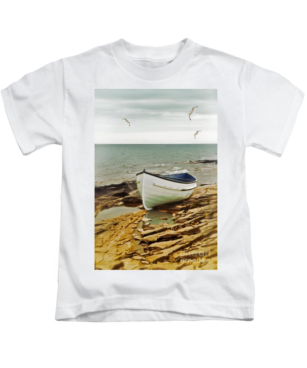 Boat Kids T-Shirt featuring the photograph Row Boat On Rocky Shore by Jill Battaglia