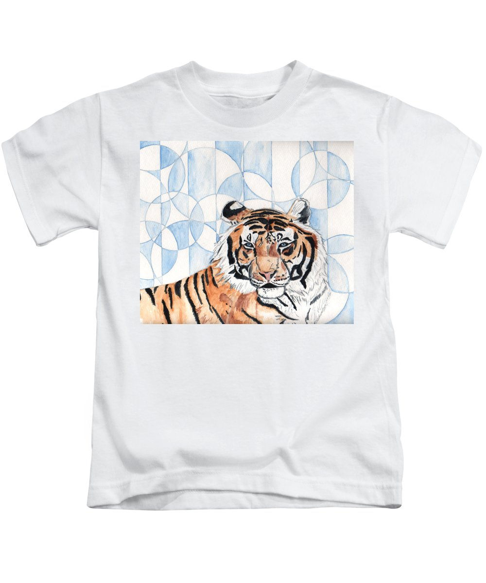 Tiger Kids T-Shirt featuring the painting Royal Mysticism by Crystal Hubbard
