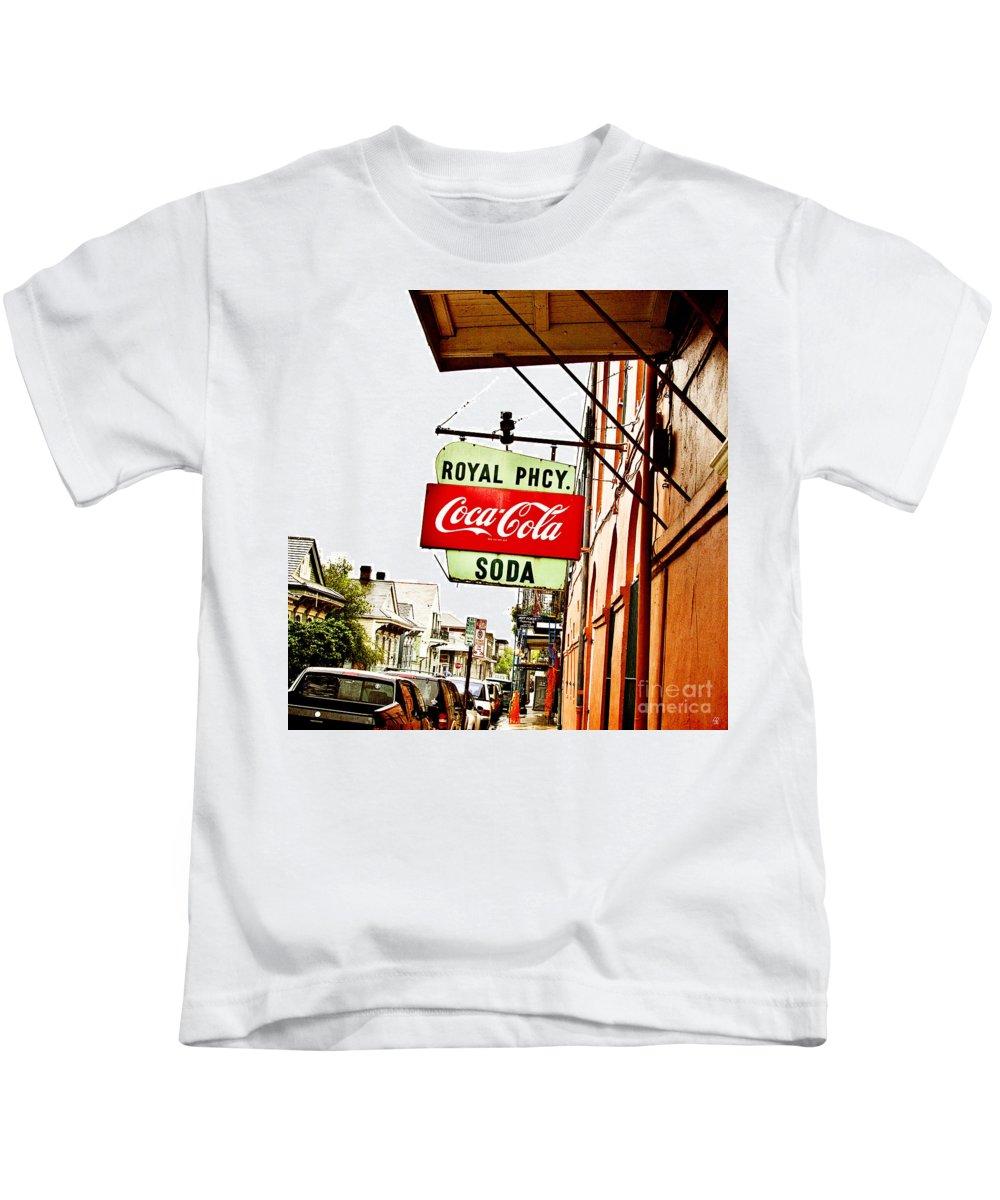 Royal Street Kids T-Shirt featuring the photograph Royal Pharmacy Soda Sign by Scott Pellegrin