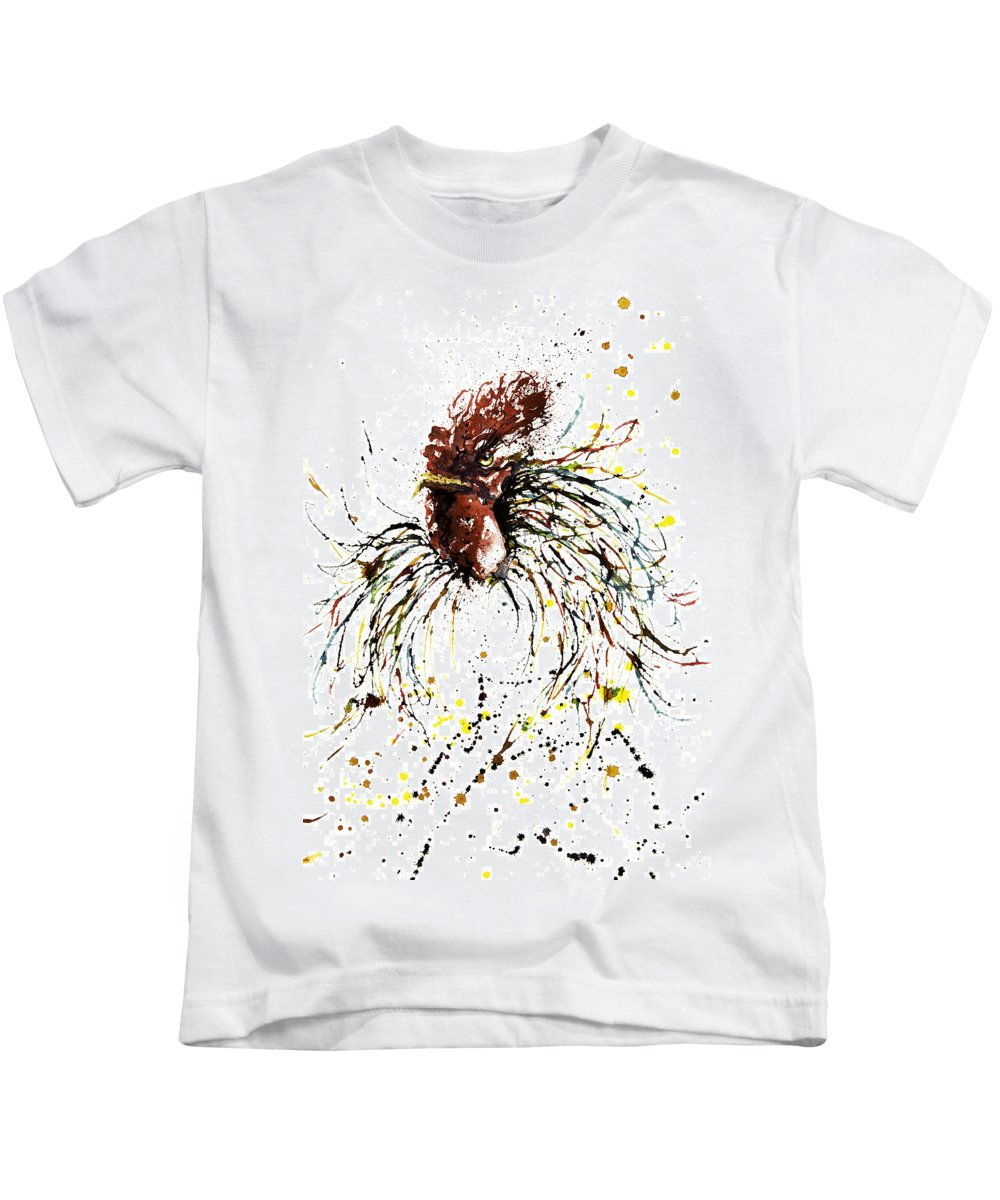 Esthers Prints & Cards Kids T-Shirt featuring the painting Ruffled Feathers by Esther Willsher