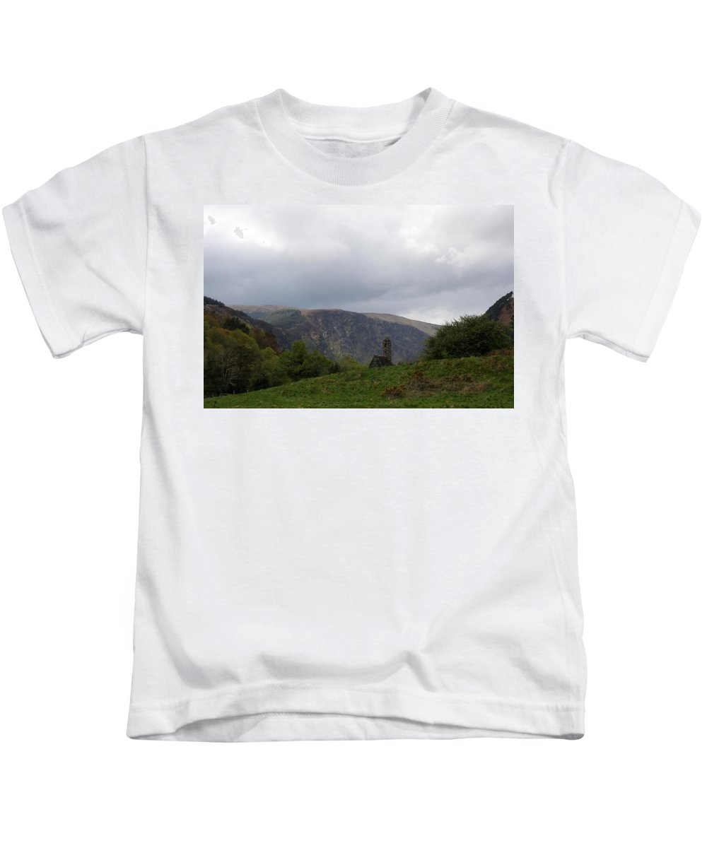 Ruin Kids T-Shirt featuring the photograph Ruin In The Hills - Glendalough by Christiane Schulze Art And Photography