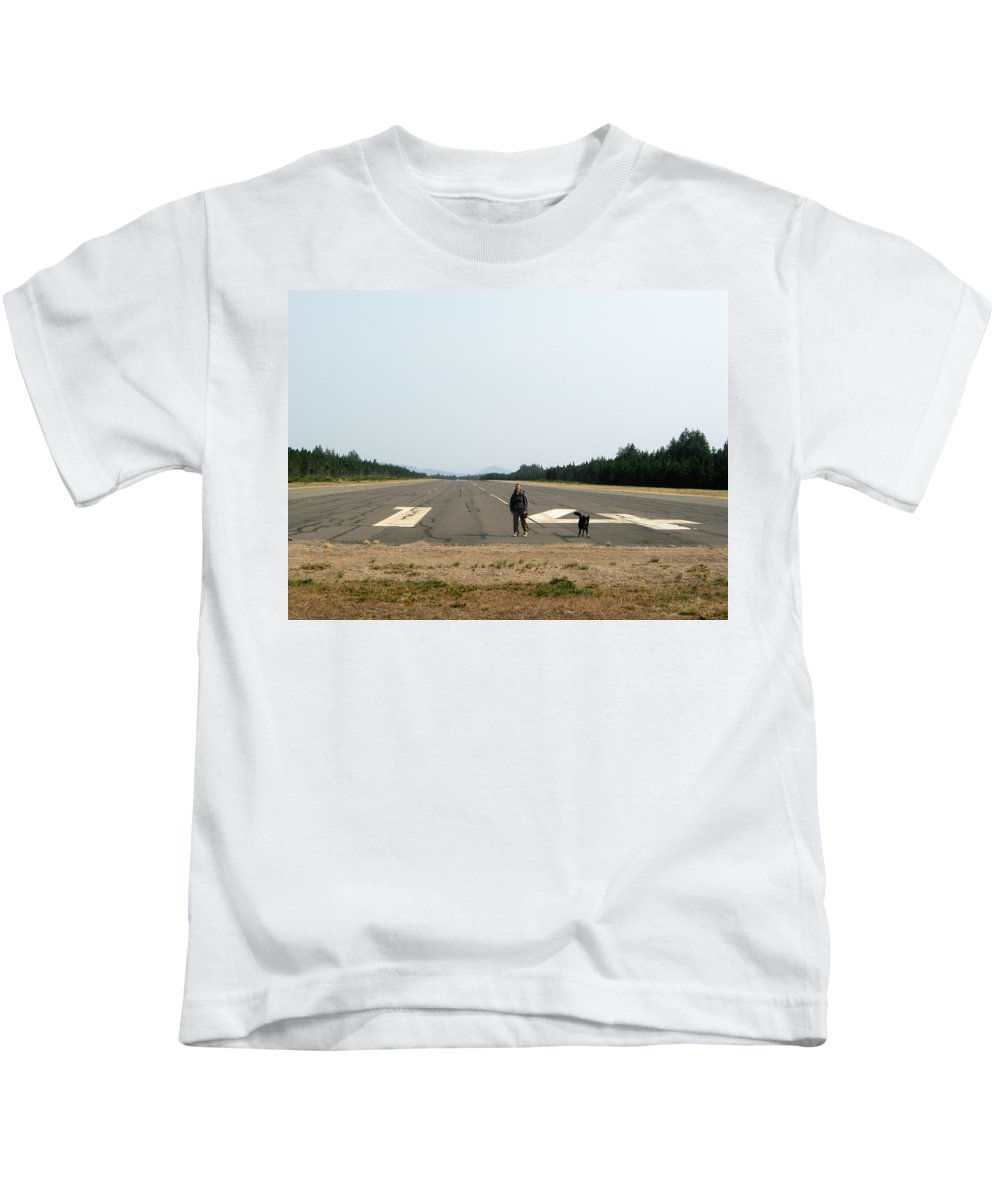 Dog Kids T-Shirt featuring the photograph Runway 14 by Helix Games Photography