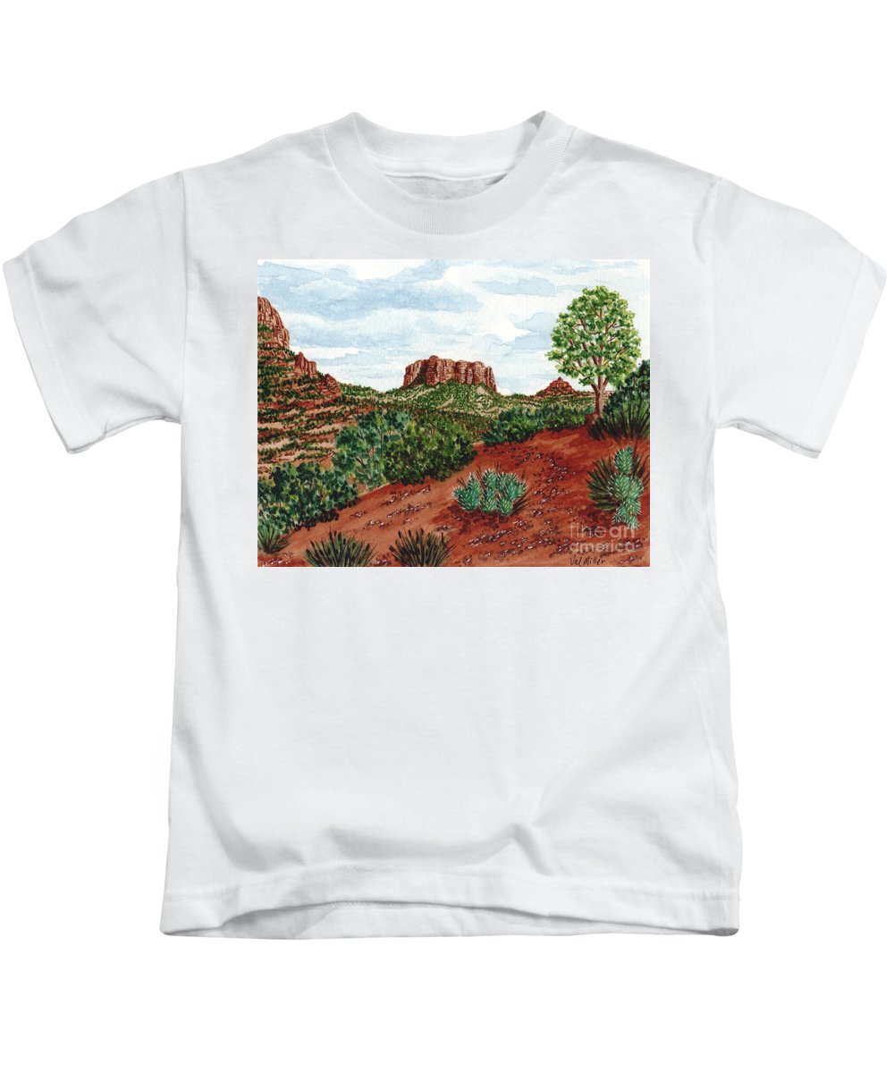 Arizona Kids T-Shirt featuring the painting Sadona Two Mountains by Val Miller