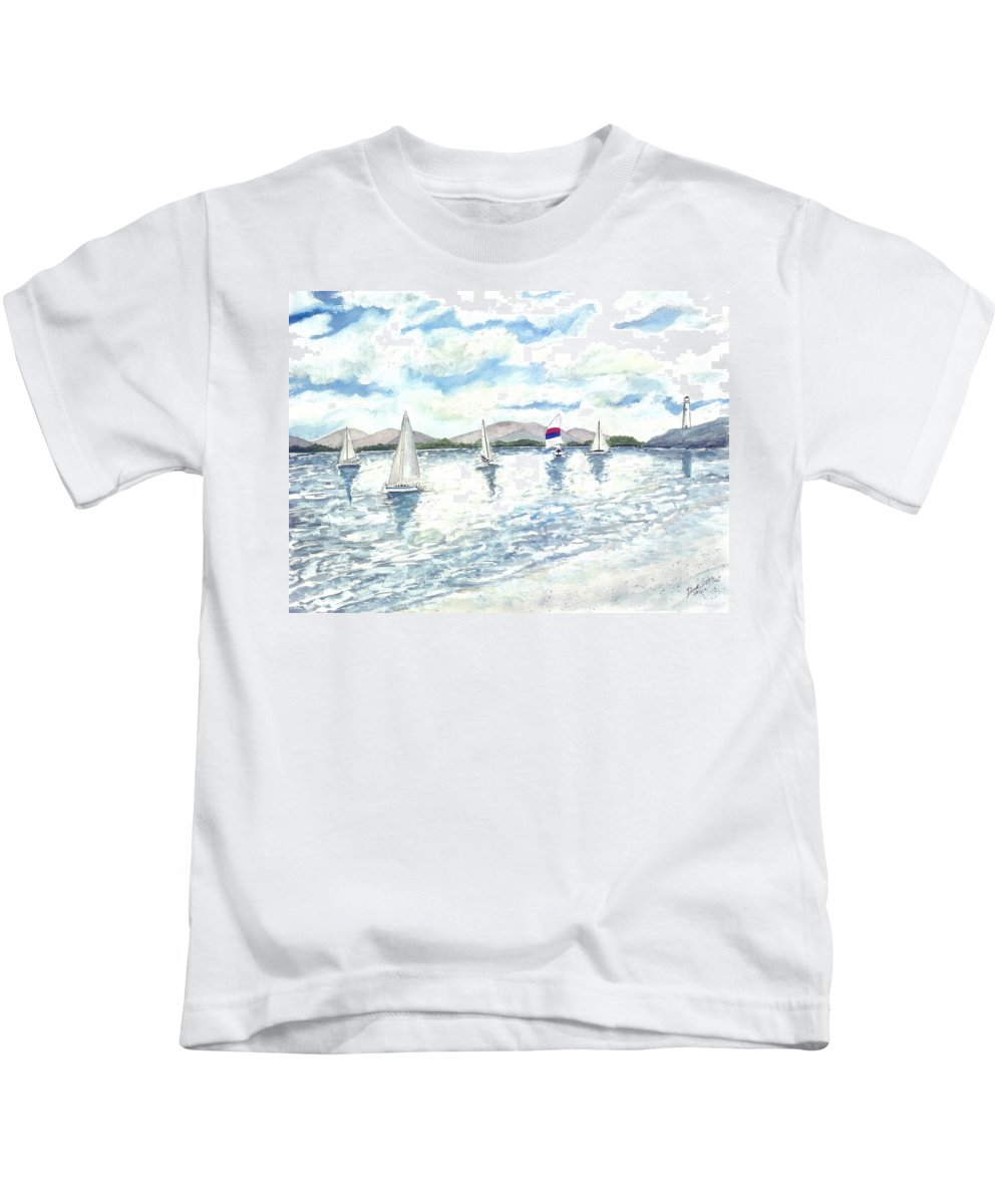 Sailboats Kids T-Shirt featuring the painting Sailboats by Derek Mccrea