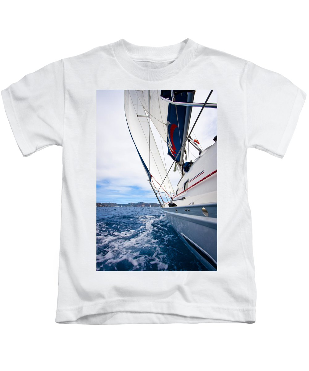 3scape Kids T-Shirt featuring the photograph Sailing Bvi by Adam Romanowicz