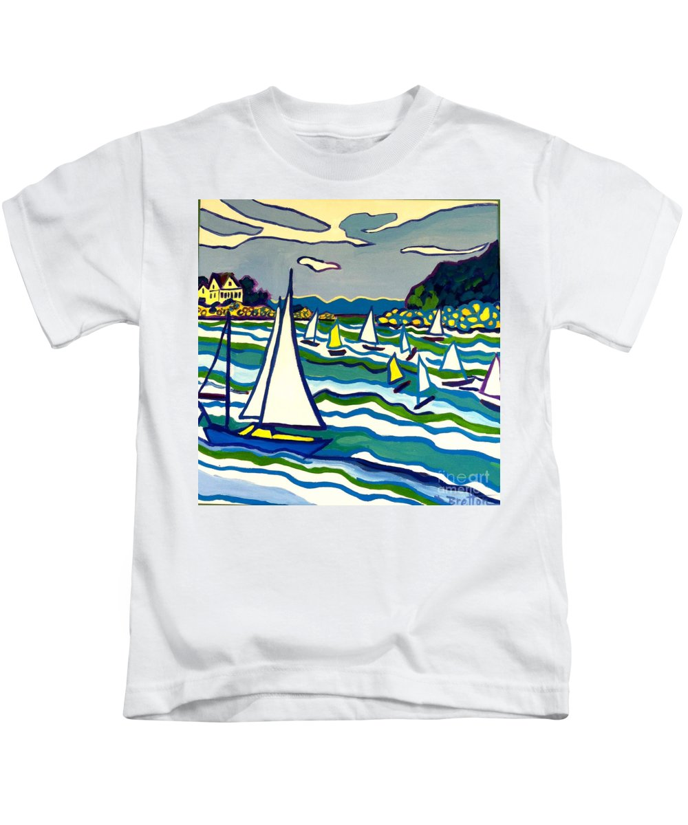 Landscape Kids T-Shirt featuring the painting Sailing School Manchester By-the-sea by Debra Bretton Robinson