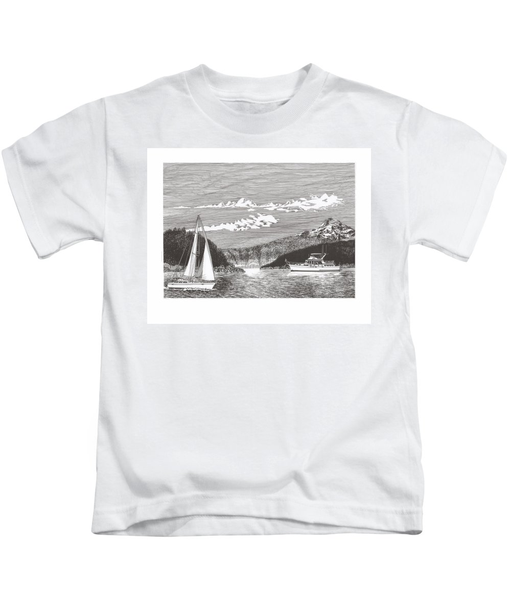 Yacht Portraits Kids T-Shirt featuring the drawing Sailing Mount Hood Oregon by Jack Pumphrey