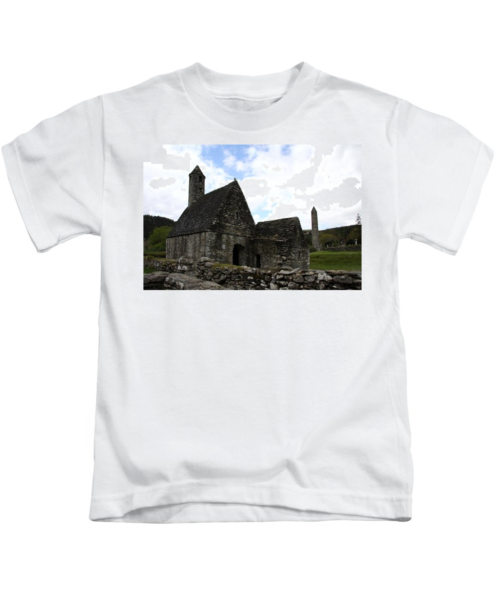 Cloister Kids T-Shirt featuring the photograph Saint Kevin's Church And Roundtower View by Christiane Schulze Art And Photography