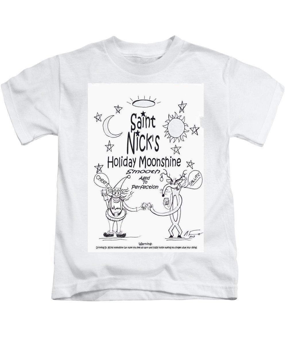 Saint Nicks Holiday Moonshine Kids T-Shirt featuring the painting Saint Nicks Holiday Moonshine by Anthony Falbo