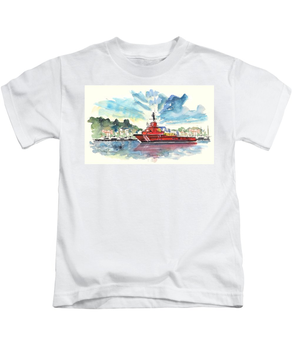 Travel Kids T-Shirt featuring the painting Salvage Ship In Cartagena by Miki De Goodaboom