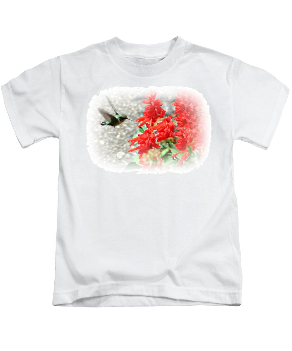 Macro Kids T-Shirt featuring the photograph Salvia Approach by Barbara S Nickerson