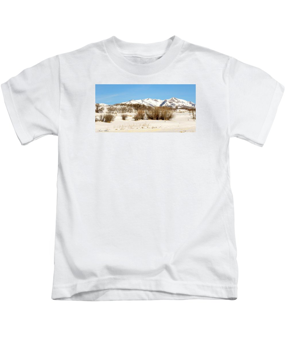 San Juan Mountains Kids T-Shirt featuring the photograph San Juan Mountains No. 1 by Annie Adkins