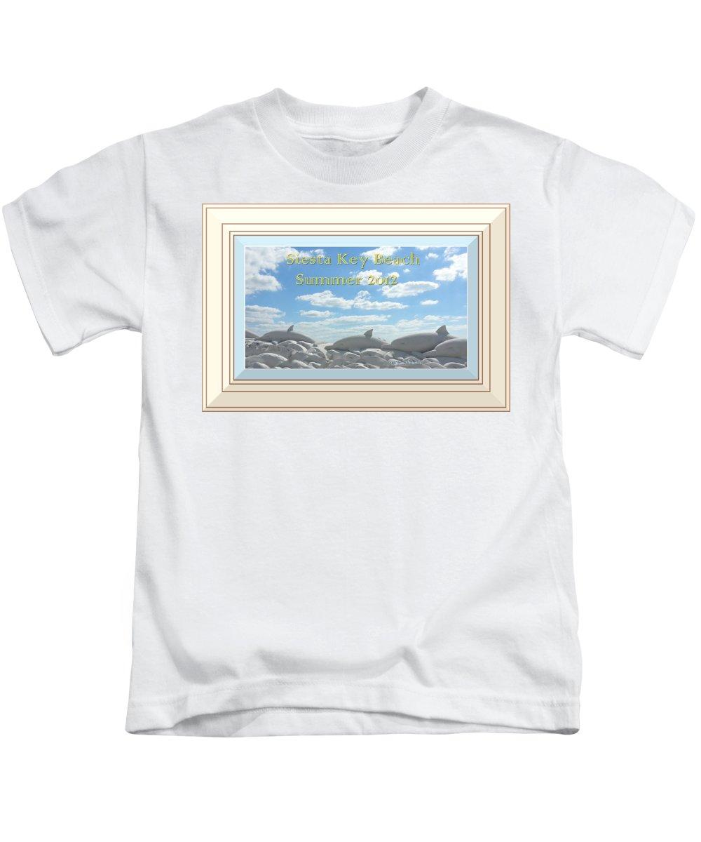 susan Molnar Kids T-Shirt featuring the photograph Sand Dolphins - Digitally Framed by Susan Molnar
