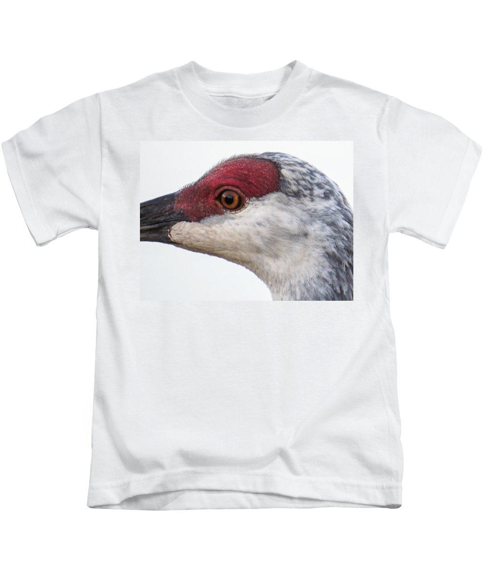 Sandhill Crane Kids T-Shirt featuring the photograph Sandhill Crane Eye by Zina Stromberg
