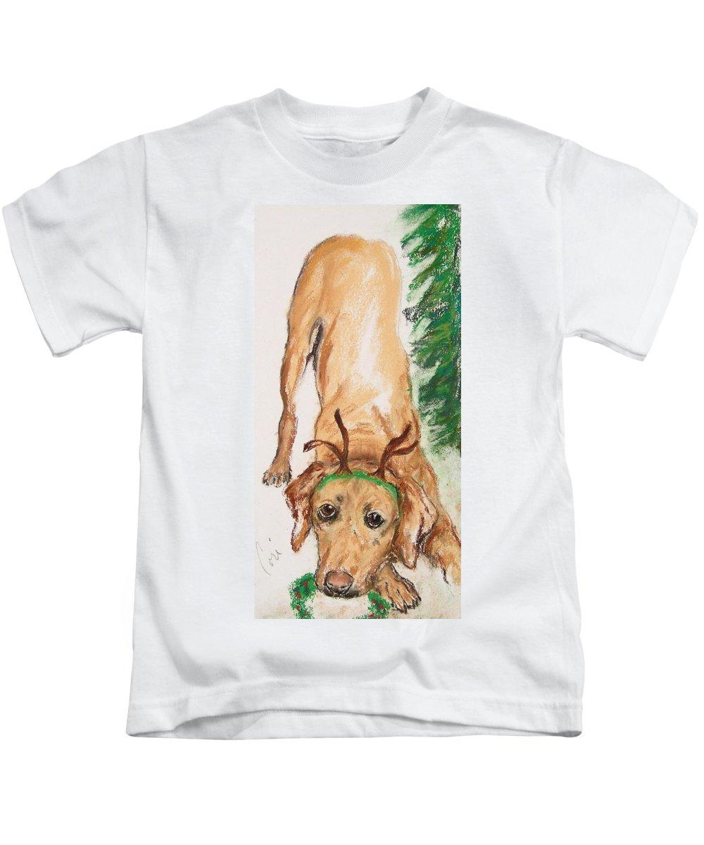 Labrador Kids T-Shirt featuring the drawing Santa's Helper by Cori Solomon