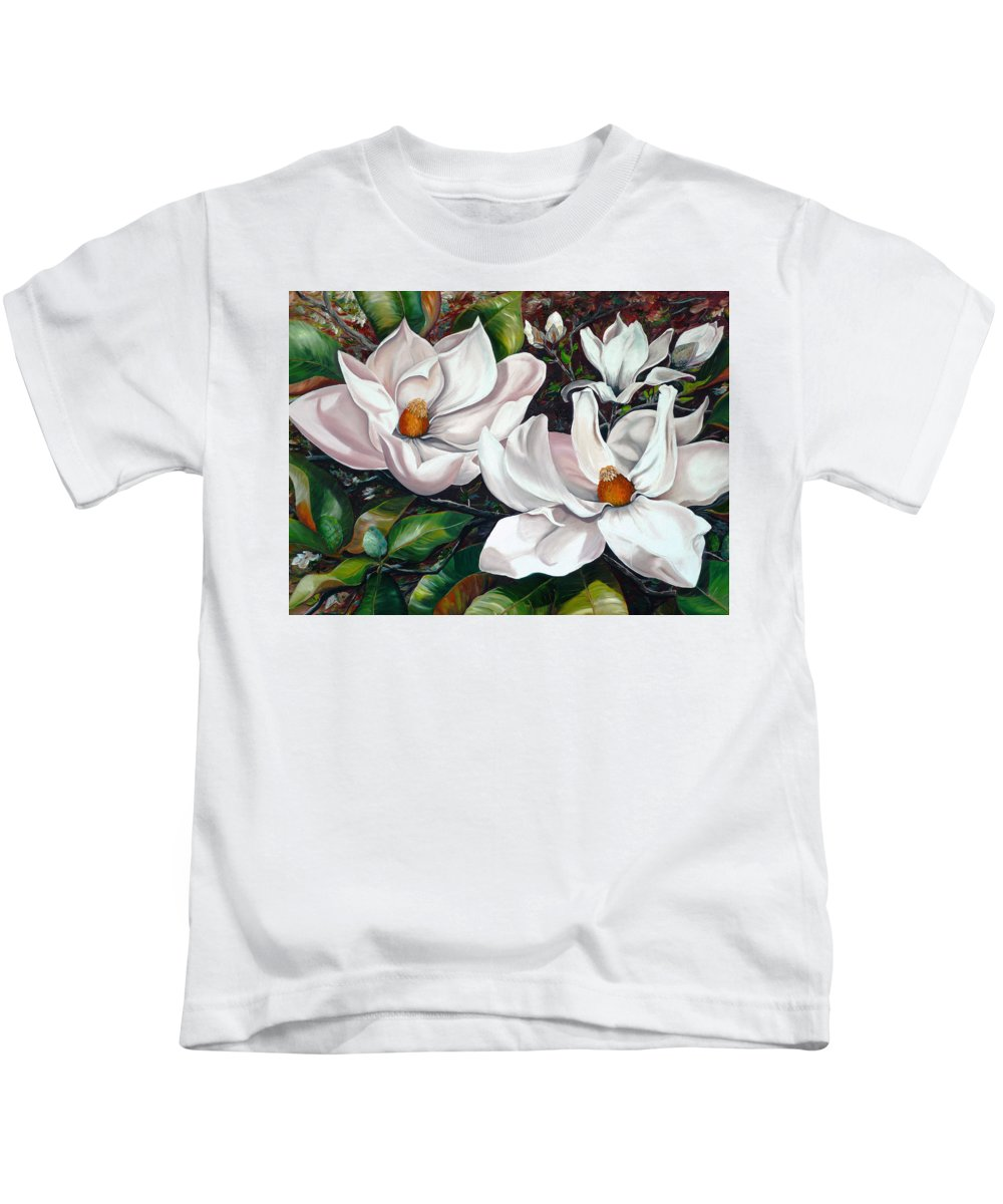 Magnolia Painting Flower Painting Botanical Painting Floral Painting Botanical Bloom Magnolia Flower White Flower Greeting Card Painting Kids T-Shirt featuring the painting Scent Of The South. by Karin Dawn Kelshall- Best
