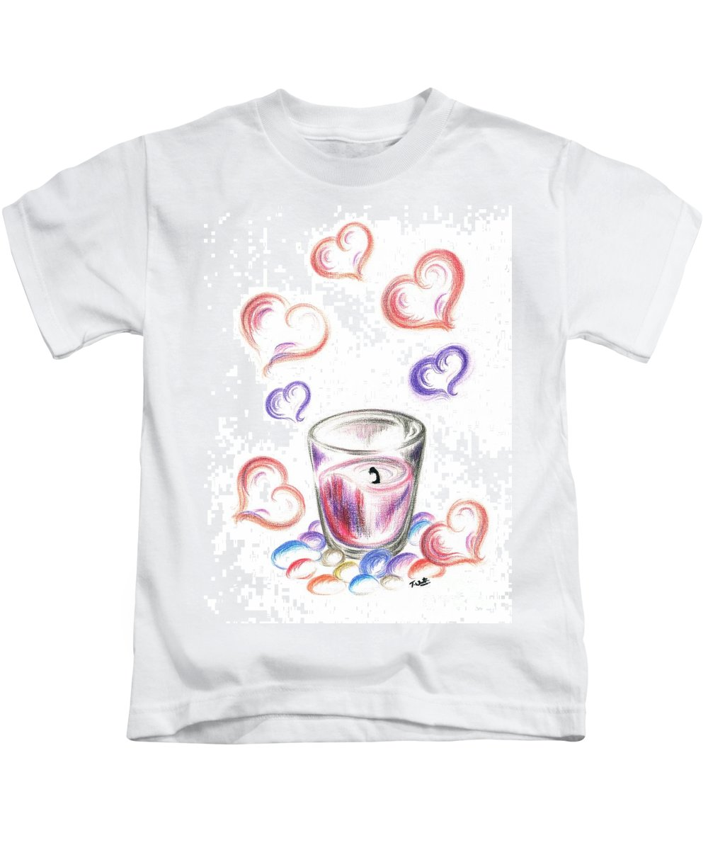 Teresa White Kids T-Shirt featuring the drawing Scented Candle With Love by Teresa White