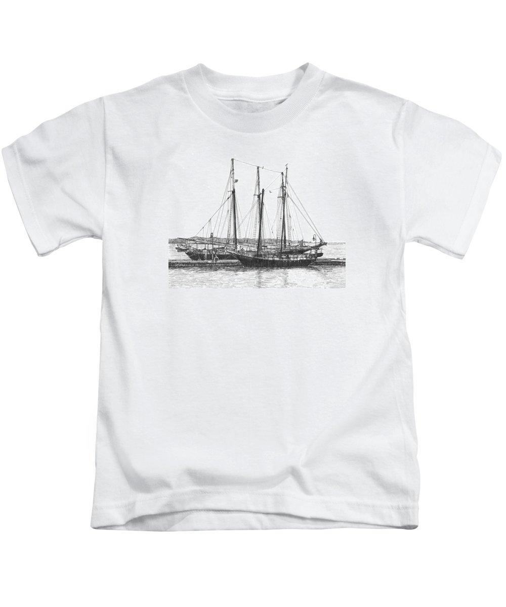 Schooners Kids T-Shirt featuring the drawing Schooners On The York River by Stephany Elsworth