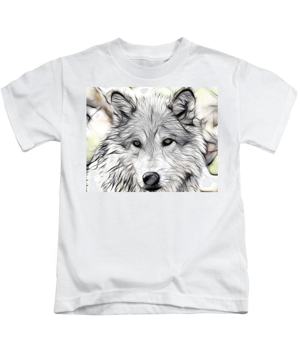 Wolf Art Kids T-Shirt featuring the photograph Scrimshaw Grey Wolf by Steve McKinzie