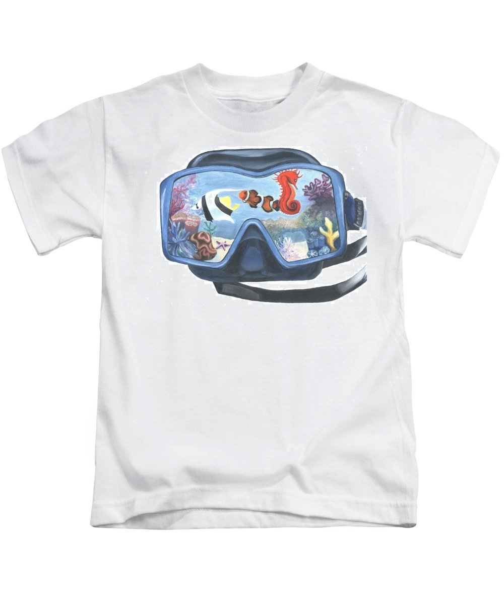 Kids T-Shirt featuring the painting Sea Beneath The Surface by Stephanie Hatfalvi