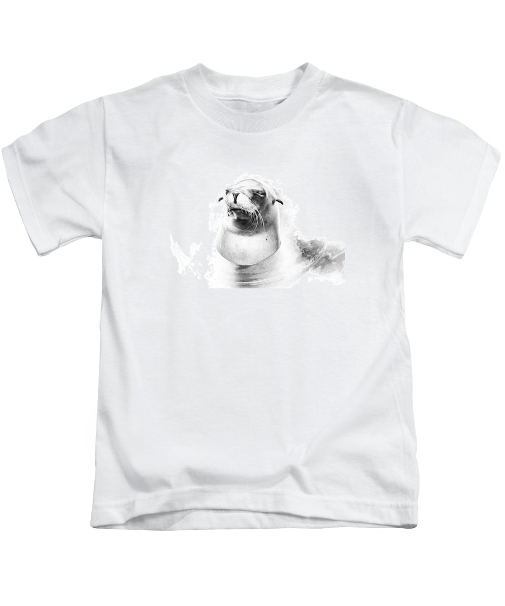Abstract Kids T-Shirt featuring the photograph Sea Lion Abstract by TN Fairey