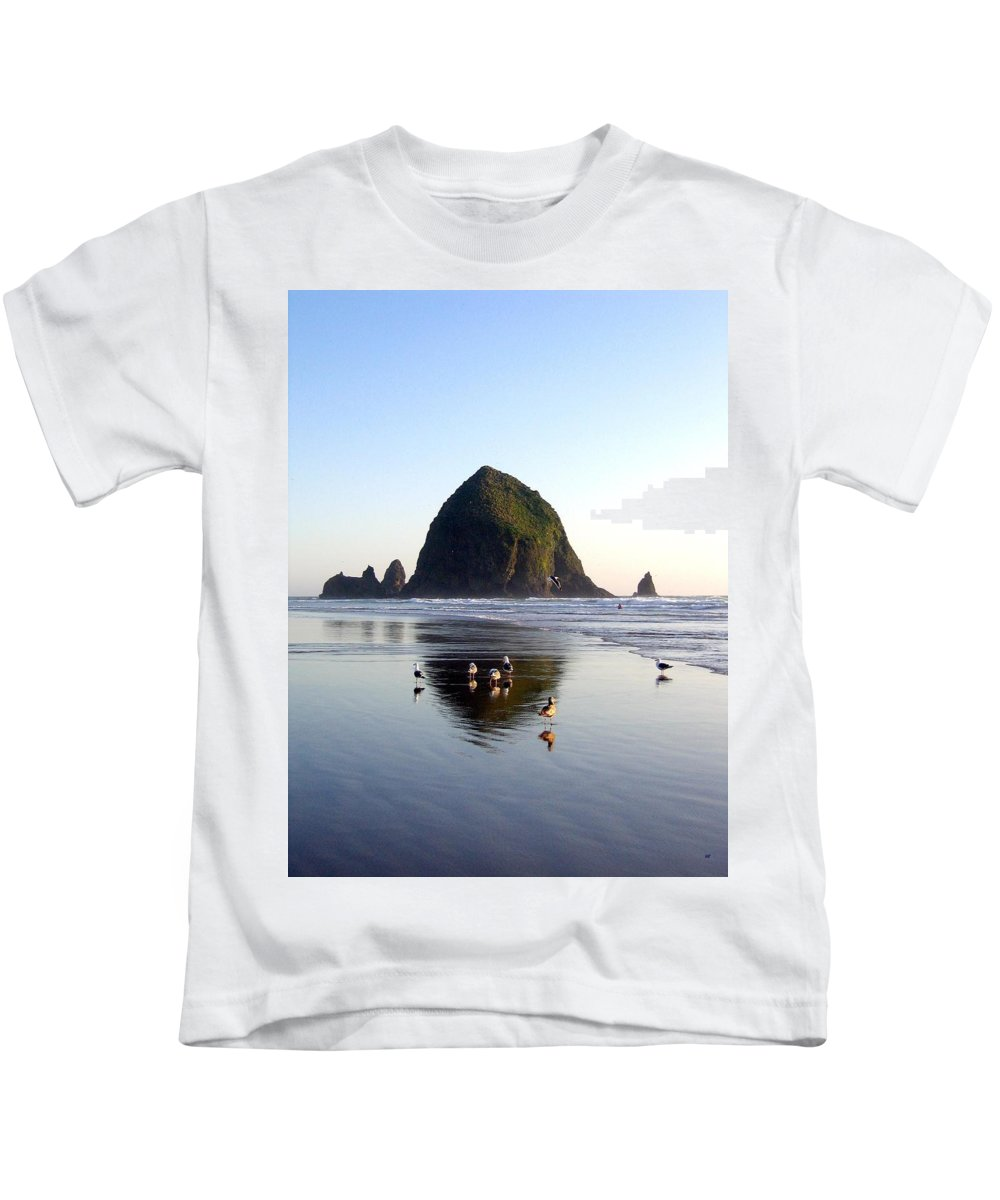 Seagulls And A Surfer Kids T-Shirt featuring the photograph Seagulls And A Surfer by Will Borden