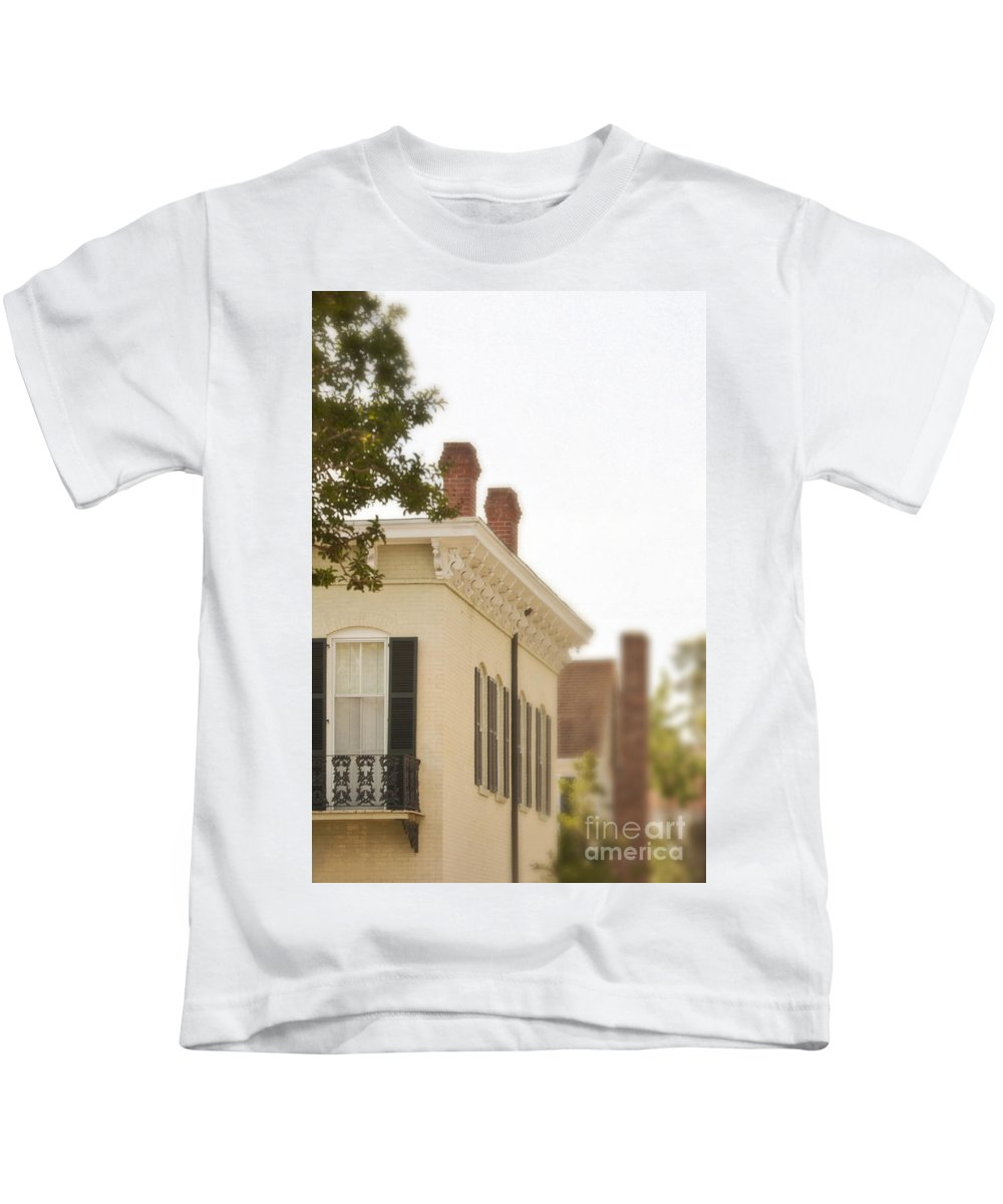 House; Home; Facade; Windows; Details; Gingerbread; Iron; Wrought Iron; Row; Neighborhood; Victorian; Ornate; Architecture; Building; Drapes; Curtains; Blinds; Corner; Brick; Painted; Upstairs; Ornate; French Creole; Balcony; Juliette; Balcony; Fancy; Decorative Kids T-Shirt featuring the photograph Second Story by Margie Hurwich