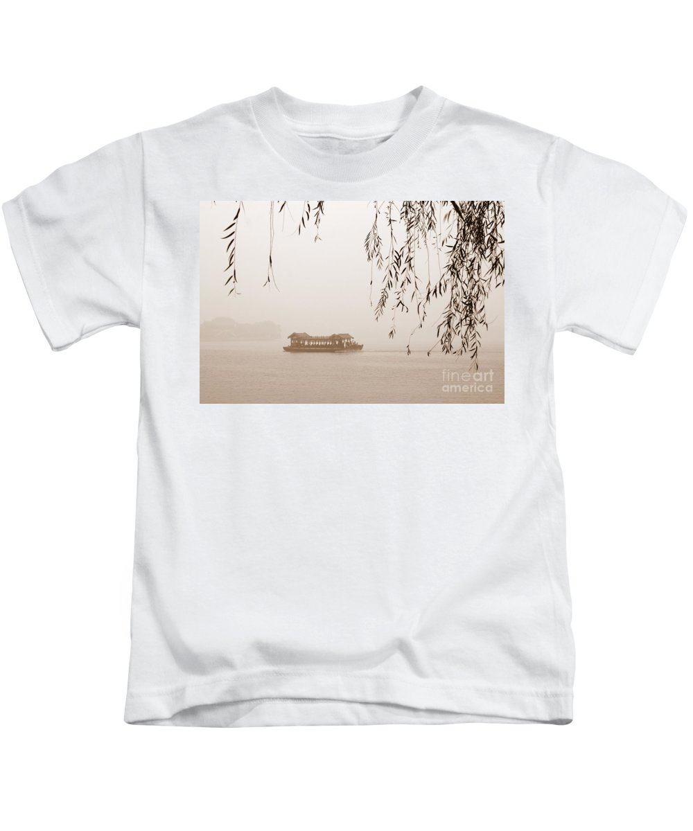 Sepia Kids T-Shirt featuring the photograph Serenity In Sepia by Carol Groenen