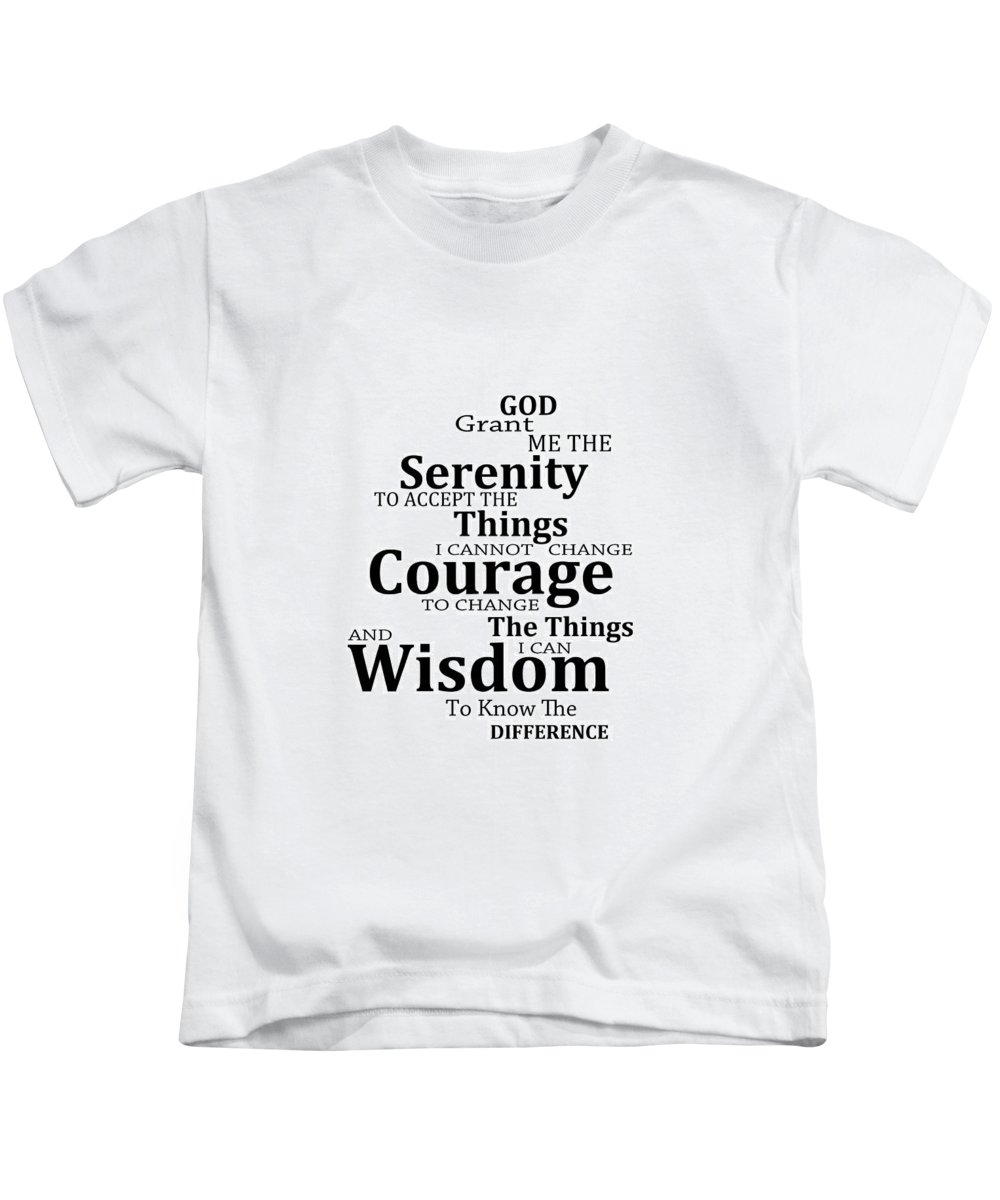 Serenity Prayer Kids T-Shirt featuring the painting Serenity Prayer 6 - Simple Black And White by Sharon Cummings