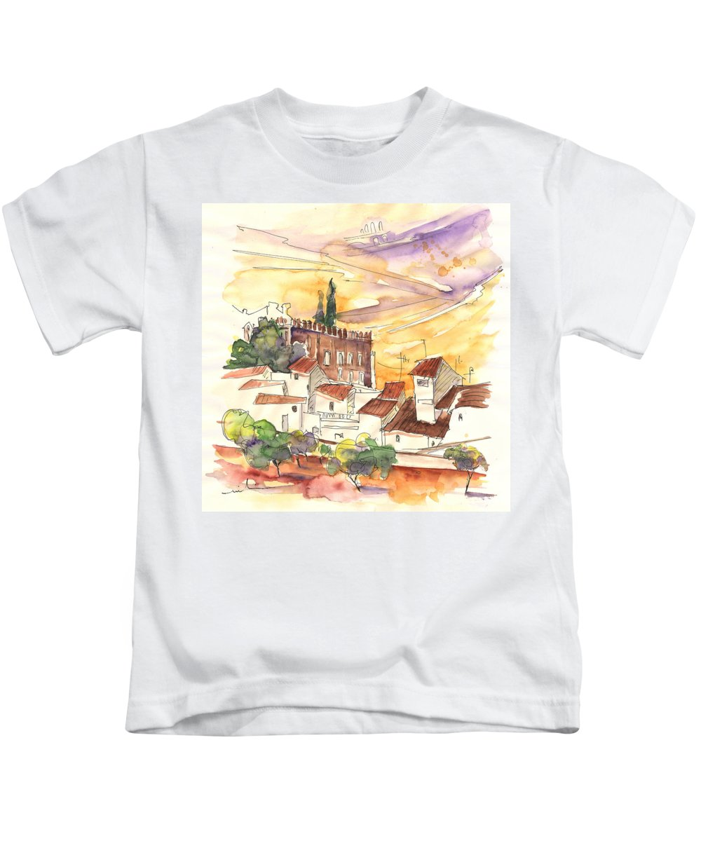 Water Colour Kids T-Shirt featuring the painting Serpa Portugal 27 by Miki De Goodaboom