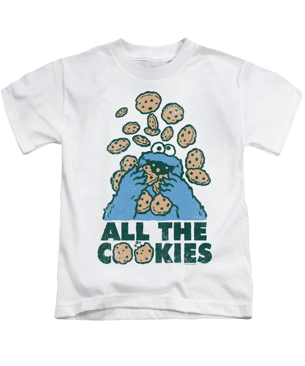 Kids T-Shirt featuring the digital art Sesame Street - All The Cookies by Brand A