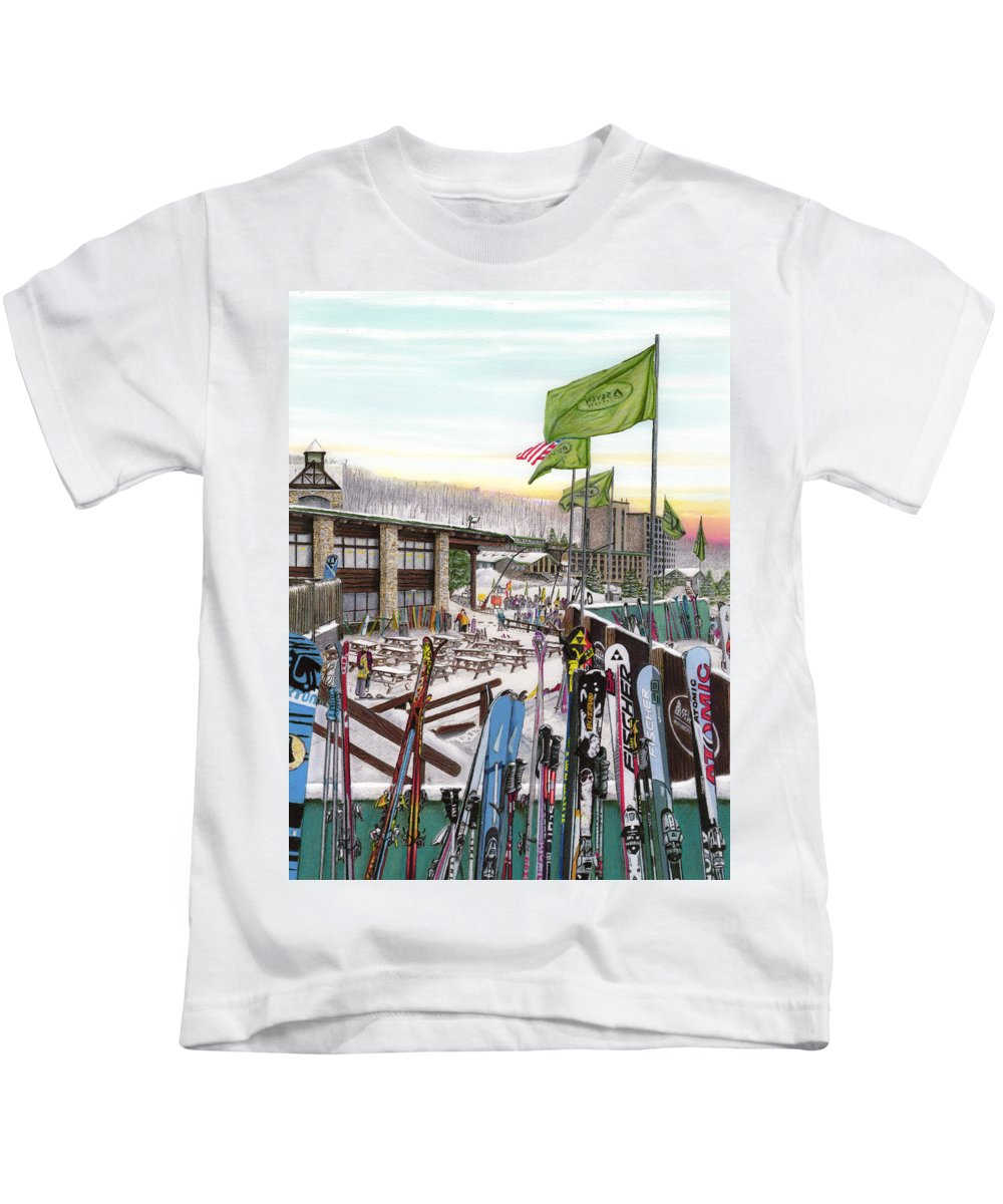 Seven Springs Kids T-Shirt featuring the painting Seven Springs Mountain Resort by Albert Puskaric