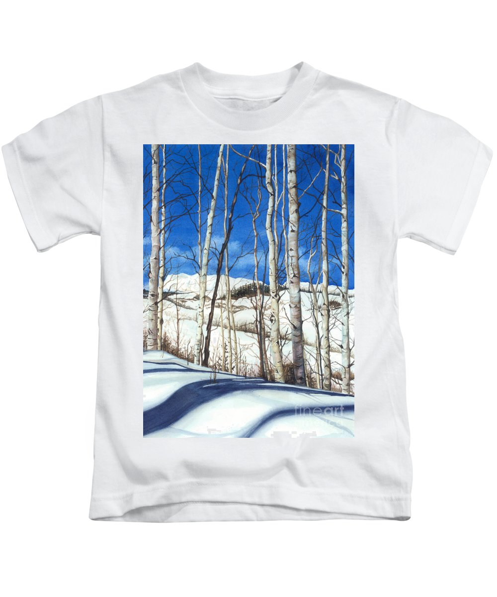 Water Color Paintings Kids T-Shirt featuring the painting Shadow Dance 2 by Barbara Jewell