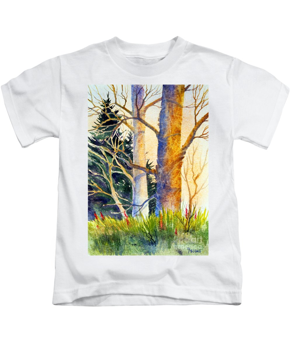 Shadow Patterns Ii Kids T-Shirt featuring the painting Shadow Patterns II by Teresa Ascone